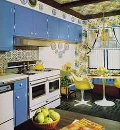 Early 1970s kitchen design. Could maybe do with a bit more colour or pattern....? Nice table and chairs