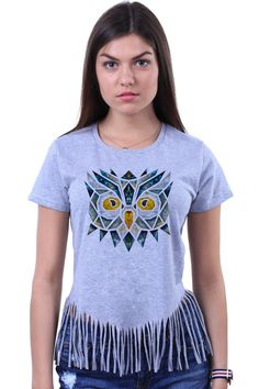 Cute Colorful Geometric Owl Face Head Print Tribal by LinkTee