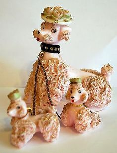 MINT-Set-of-3-VTG-Lefton-Pink-Spaghetti-Poodles-with-hat-Puppies-Chain-50s