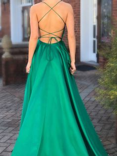 Long Prom Dresses with Pocket Green Formal Evening Gown|Sheergirl.com - SheerGirl