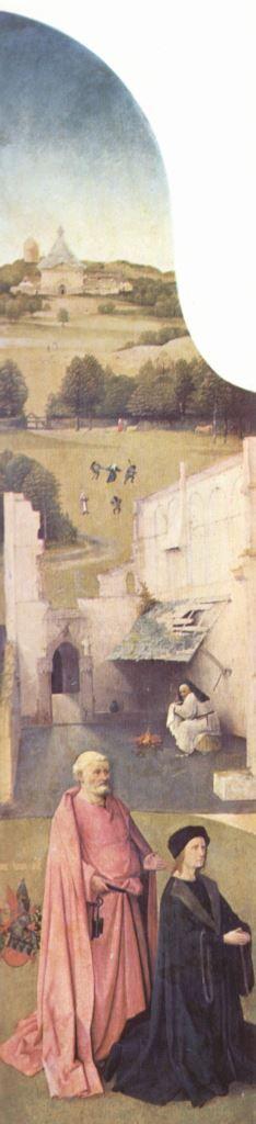 Hieronymus Bosch.  Epiphanie-Triptychon, linker Flügel: Hl. Petrus und kniender Stifter. Um 1510, Öl auf Holz, 138 × 33 cm. Madrid, Museo del Prado.  Wahrscheinlich urspr. in der Kapelle der Bruderschaft Unserer-Lieben-Frau in der St. Jans Kathedrale in 's-Hertogenbosch.  Niederlande. Renaissance.  KO 02434
