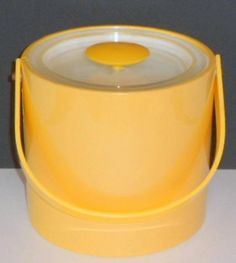 The Vintage Village - View Classified - Vintage Georges Briard Yellow Plastic Ice Bucket 1960s Mod