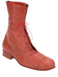 55b811f49be4 Red calf leather boots from Alice Waese featuring a stacked heel