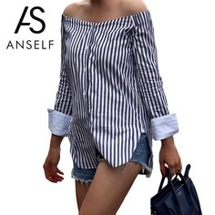 ANSELF Fashion Striped Print Women Off Shoulder Blouse Slash Neck Long Sleeve Shirt Women Tops Vintage Ladies Blouses Blusas-in Blouses & Shirts from Women's Clothing & Accessories on Aliexpress.com | Alibaba Group