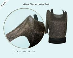 Glitter Top w/Under Tank 3/4 Sleeve  shop.leavahn.com