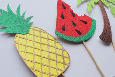 Tropical Photo Booth Props ; Pineapple Decor ; Summer Bachelorette Party ; Summer Decor ; Luau Decoration by LetsGetDecorative on Etsy https://www.etsy.com/listing/399757109/tropical-photo-booth-props-pineapple