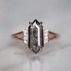 Jewelry Rings ct Hexagon Split Shank Koko Engagement Ring, Rose Gold - Point No Point Studio creates beautiful unique engagement rings including rough diamonds, uncut diamonds, and more. Jewelry Rings, Jewelry Accessories, Fine Jewelry, Jewelry Design, Gold Jewelry, Jewlery, Craft Jewelry, Jewelry Holder, Wedding Accessories
