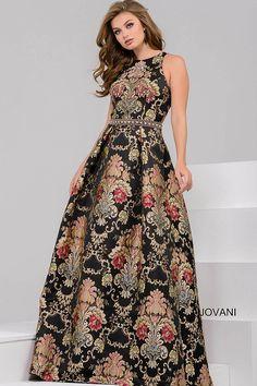 4d941101feaec Black Multi High Neckline Sleeveless Ballgown 48394. Prom Dresses JovaniGala  ...