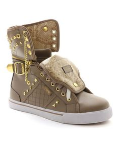 Treat those feet to something sweet with these sporty shoes! The hi-top silhouette with a zipper collar and stud details gives this pair some edgy appeal, while the lightly cushioned footbed keeps feet comfy at school pickups and late night rock shows.