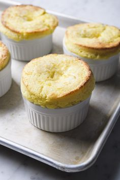 """This sweet corn pudding recipe adapted from Vivian Howard's """"Deep Run Roots"""" is like an airy, light soufflé. Sweet Corn Pudding, Corn Pudding Recipes, Souffle Recipes, Pudding Desserts, Dessert Recipes, Corn Pudding Souffle Recipe, Party Recipes, Corn Souffle, Elegant Desserts"""