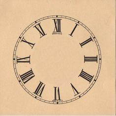 Clock Face with Roman Numerals - The Graphics Fairy