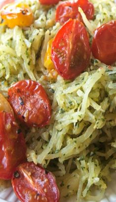 Pesto Spaghetti Squash with Roasted Tomatoes without the Parmesan cheese