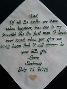 personalized wedding handkerchief for father of the bride.  Ahhh.  These are so cool to give your dad.