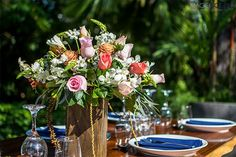 Fresh, pastel centerpieces #centerpieces #reception #costarica #weddingcostarica #weddingflowers #desitnationwedding #roses #orchids #natural #fresh #blue #navyblue #flowers