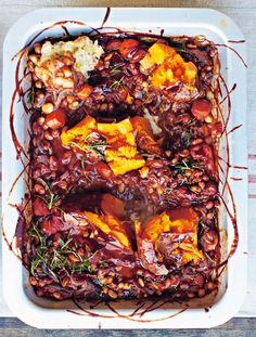 BBQ baked beans with smashed sweet potatoes  Comforting and delicious, this is a great meat-free dinner idea or, without the killer croutons, it makes a damn fine side with roasted meats