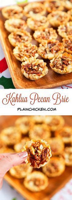 Kahlua Pecan Brie Bites – only 5 ingredients! Can assemble ahead of time and ref… Kahlua Pecan Brie Bites – only 5 ingredients! Can assemble ahead of time and refrigerate until ready to bake. Fall Appetizers, Finger Food Appetizers, Appetizer Recipes, Dessert Recipes, Finger Food Menu, Brie Appetizer, Cheese Appetizers, Brie Bites, Fingerfood Party