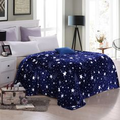 Dream Star space Style Coral Flannel fleece Blanket soft Plaid print Throws New…