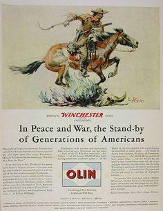 1946 Winchester 94 Cowboy Horse Philip R Goodwin Art Olin Vintage