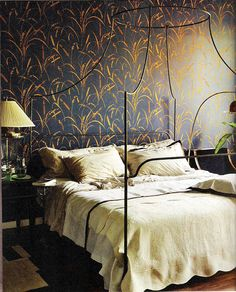 dramatic wallpaper and bed
