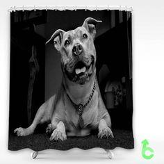 Cheap Dog Pitbull Watchdog Shower Curtain