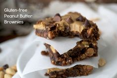 Gluten free Chocolate Peanut Butter Brownies  Looking for the the perfect fudgy brownie that is also GF? Check out these amazing gluten free chocolate peanut butter brownies! So fudgy you'll need a fork!