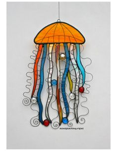 Stained Glass JELLYFISH Suncatcher Original by stainedglasswhimsy, $72.00