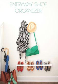 Entryway Shoe Organizer // So simple and genius! #DIY #organized