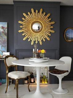black and gold starburst mirror