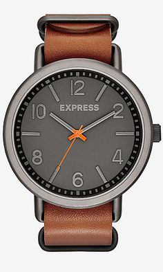 analog leather strap watch - brown