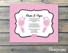 Grandparents Gift Nana Papa Grandma Grandpa Newborn foot prints - so sweet