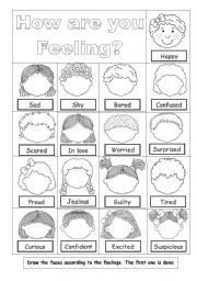 Students have to draw the faces according to the feelings