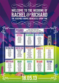 glastonbury themed wedding seating plan poster