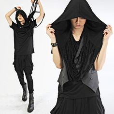 Aliennnation : 10. 1 black magic DIY series goth ninja part 1: hooded infinity fringe scarf
