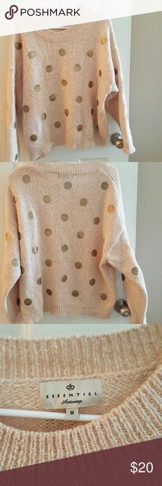 Essentiel Antwerp Shimmering Spots Pullover❤ Adorable sweater. In excellent condition, like new. No flaws. Size medium. 35% acrylic 23% cotton 17% mohair 10% wool 10% polymade. Sold out online. Perfect for Valentines Day!❤❤❤ Anthropologie Sweaters