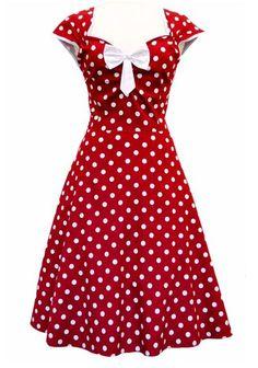 Isabella Red Polka Dot, 50's Mekko - Lady Vintage