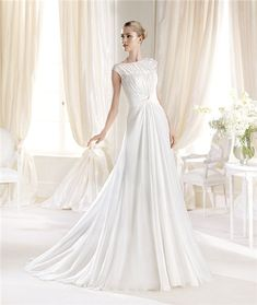 Fitted A Line Boat Neck Cap Sleeves Draped Chiffon Wedding Dress With Buttons