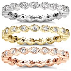 Annello 14k Gold 1/3ct TDW Stackable Diamond Eternity Ring (H-I, I1-I2) | Overstock.com Shopping - The Best Deals on Women's Wedding Bands