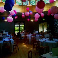 Matara centre, Kingscote, Gloucestershire, Cotswolds, lanterns, hot pink, purple  By Jessie Thomson Weddings & Events