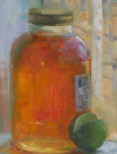 a painting a day: Honey Jar with a Lime, 2/7/2015