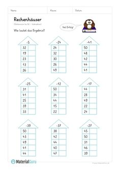 "NEW: A free maths workbook on the topic of ""Calculators"" for the elementary school, where the children walk the floors with numbers through the subtrah . 2nd Grade Math Worksheets, Math Workbook, Preschool Worksheets, Math Activities, Math Tables, School Frame, Math Numbers, Free Math, Multiplication"
