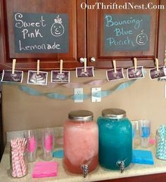 Gender Reveal Party: Blue Punch and Pink Lemonade Drink Station and Decorations Stealing a bunch of these ideas for next time! Ideas for a baby shower as well Deco Baby Shower, Bebe Shower, Fiesta Baby Shower, Shower Party, Baby Gender Reveal Party, Gender Party, Gender Reveal Food, Gender Reveal Cupcakes, Gender Reveal Party Decorations