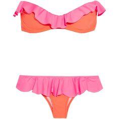 Je M'en Fous Ruffled neon bandeau bikini ($88) ❤ liked on Polyvore featuring swimwear, bikinis, swimsuits, bikini, beach, swim suits, orange, bikini swimsuit, flounce bikini and bandeau swimsuit