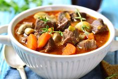 Warm up any winter day with these 50 Crock-Pot recipes. Crock Pot Recipes, Cooker Recipes, Lamb Recipes, Pressure Cooker Lamb, Dirt Cheap Meals, Lamb Stew, Stewed Potatoes, Pot Roast, Stuffed Peppers