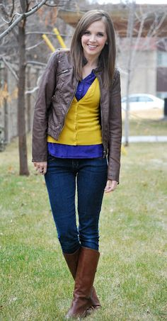 Cardigan over a button down: yellow & cobalt color blocking. Love it.