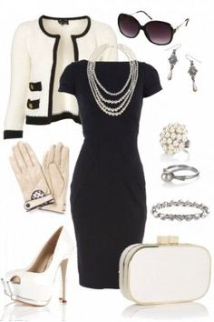 Bridal Guest Outfit - Black & Ivory ▶suggested by ~Sophistic Flair~