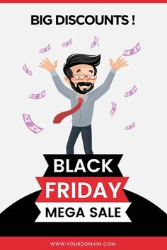 Black friday big discount mega sale flyer design. Download it at freepik.com! #Freepik #vector #sale #man #marketing #luxury Masha And The Bear, Sale Flyer, Flyer Design, Black Friday, Big