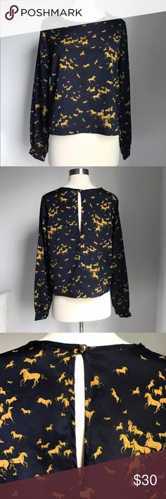 Navy blue long sleeved blouse with horse print Made in LA this sweet scoop neck navy blouse has a cool golden yellow horse print.  Back has a brass button enclosure at neck leaving an open slit. This is not a size L - my mannequin is a Sz SM. Brand is October Sky. October Sky Tops Blouses
