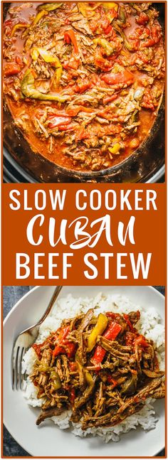 Ropa vieja slow cooker recipe: a comforting Cuban beef stew consisting of shredded beef, colored bell peppers, mild spices, and a tomato sauce. via /savory_tooth/