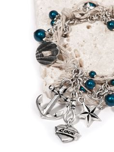 Sailor's Knot Bracelet featuring TierraCast Classic Hook, Oval Shell button, Love Heart, Nautical Star, and Anchor charms. Design  by Tracy Gonzales for TierraCast.
