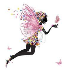 """Stickers """"enjoué, forme, personnage - fée fleur avec papillon"""" ✓ Un large choix de matériaux ✓ Nous adaptons le produit à vos besoins ✓ Regardez des opinions de nos clients !"""